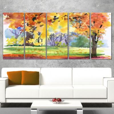 Designart Autumn Park Yellow Trees Watercolor Landscape Canvas Art Print - 5 Panels