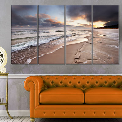 Designart Shore of Baltic Sea During Winter Seascape CanvasArt Print - 4 Panels