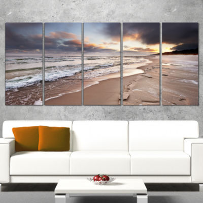 Designart Shore of Baltic Sea During Winter Seascape WrappedArt Print - 5 Panels