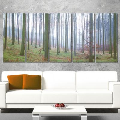 Designart Autumn Tree Trunks Panorama Oversized Forest Wrapped Canvas Artwork - 5 Panels