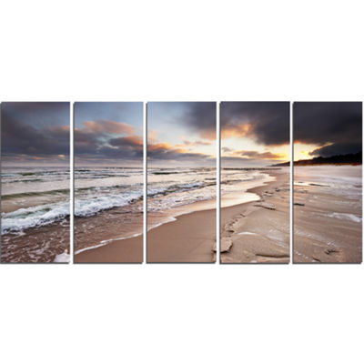 Designart Shore of Baltic Sea During Winter Seascape CanvasArt Print - 5 Panels