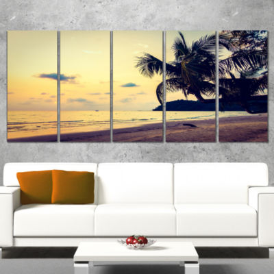 Designart Silhouette Coconut Tree Seascape CanvasArt Print- 4 Panels