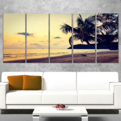 Designart Silhouette Coconut Tree Seascape WrappedArt Print- 5 Panels