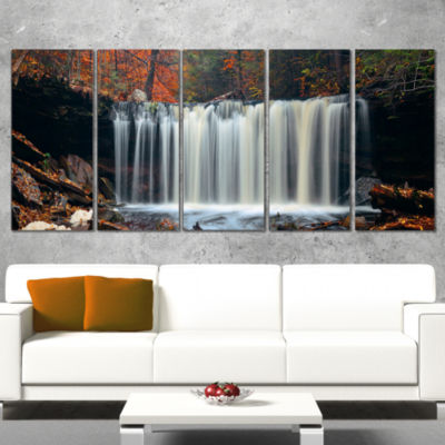 Designart Autumn Waterfall with Colorful FoliageModern Landscape Wall Art Wrapped Canvas - 5 Panels