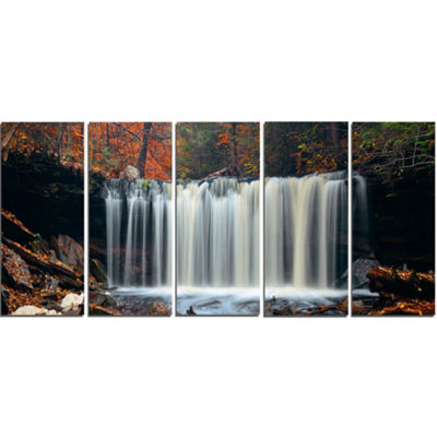 Designart Autumn Waterfall with Colorful FoliageModern Landscape Wall Art Canvas - 5 Panels