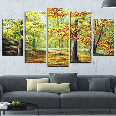 Designart Autumn Wood Landscape Art Print Canvas-4 Panels