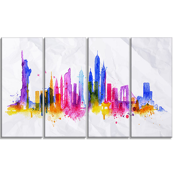 Designart Silhouette Overlay New York Cityscape Canvas Art Print - 4 Panels