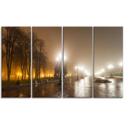 Designart Avenue of City Park at Night CityscapePhotographyCanvas Print - 4 Panels