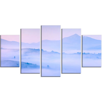 Designart Silhouettes of Morning Mountains Landscape Photography Canvas Print - 4 Panels