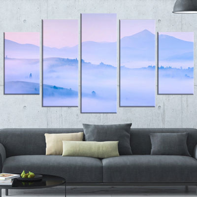Designart Silhouettes of Morning Mountains Landscape Photography Wrapped Print - 5 Panels