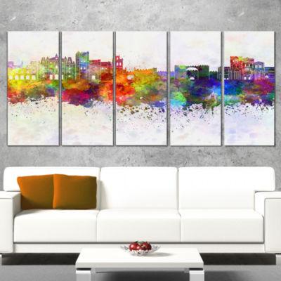 Designart Avila Skyline Purple Cityscape Canvas Artwork Print - 5 Panels