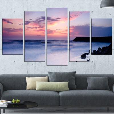 Designart Silky Waters Around Rocks Large SeashorePhoto Canvas Art Print - 5 Panels