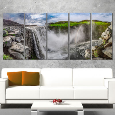 Designart Awesome Dettifoss Waterfall Landscape Print Wall Artwork - 5 Panels