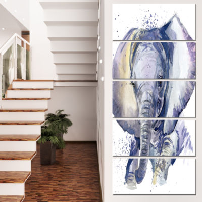 Designart Baby Elephant Blue Watercolor AbstractCanvas Art Print - 4 Panels