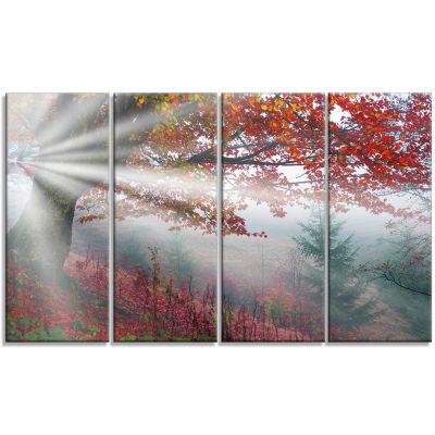 Designart Silver Rays of Sun After Storm LandscapePhotography Canvas Art Print - 4 Panels