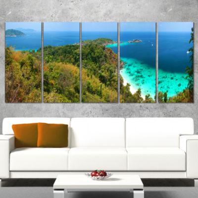 Designart Similan Islands Paradise Bay Modern Seascape Wrapped Artwork - 5 Panels