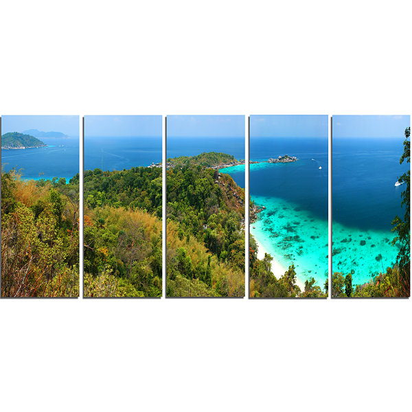 Designart Similan Islands Paradise Bay Modern Seascape Canvas Artwork - 5 Panels
