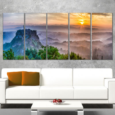 Designart Bagnoregio at Dusk Italy Panorama Landscape Canvas Art Print - 5 Panels