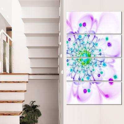 Simple Purple Blue Fractal Flower Floral Canvas Art Print - 4 Panels
