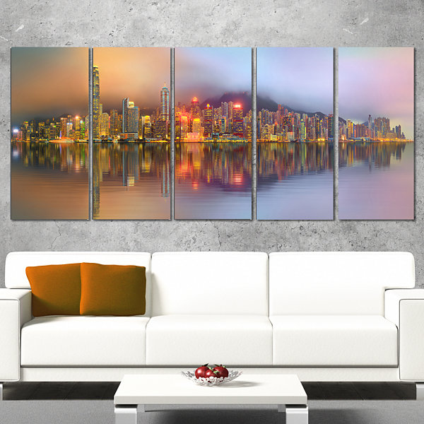 Designart Singapore Financial District Island Cityscape Canvas Print - 4 Panels
