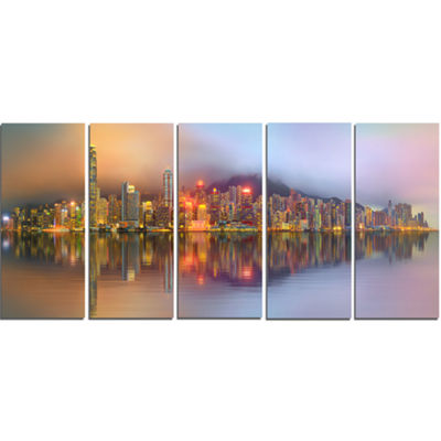 Designart Singapore Financial District Island Cityscape Canvas Print - 5 Panels
