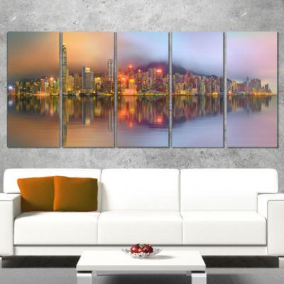 Designart Singapore Financial District Island Cityscape Canvas Print - 5 Panels