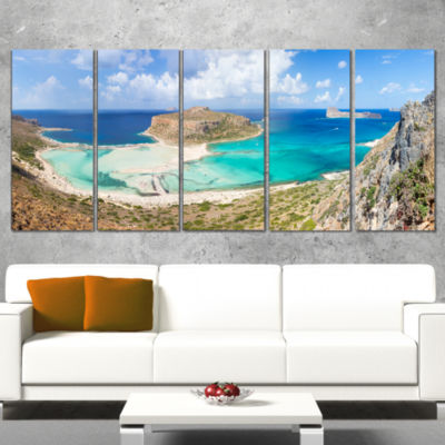 Designart Balos Beach at Crete Island Greece Oversized BeachCanvas Artwork - 4 Panels