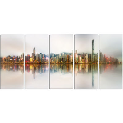 Singapore Financial District Panorama Cityscape Canvas Print - 5 Panels