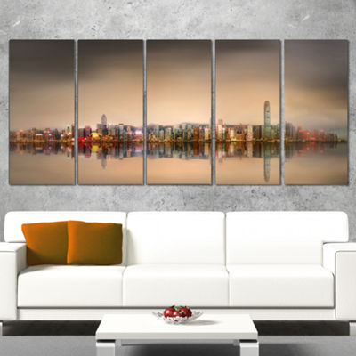 Designart Singapore Financial District SkyscrapersCityscapeCanvas Print - 5 Panels