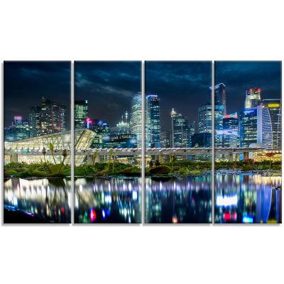 Designart Singapore Financial District?? CityscapePhoto Canvas Print - 4 Panels