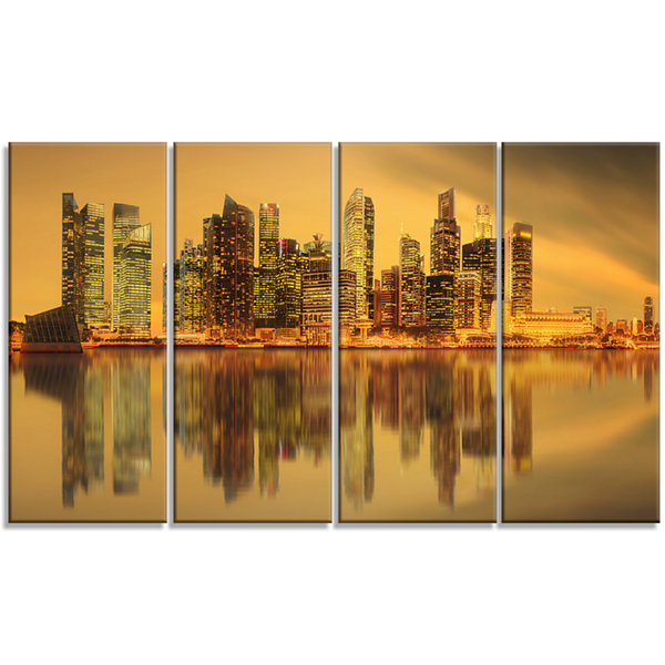 Designart Singapore Marina Bay Skyscrapers Cityscape CanvasPrint - 4 Panels