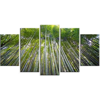 Designart Bamboo Forest of Kyoto Japan. Forest Wrapped Canvas Wall Art Print - 5 Panels