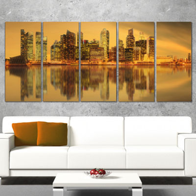 Designart Singapore Marina Bay Skyscrapers Cityscape WrappedPrint - 5 Panels