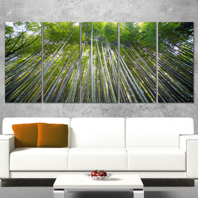 Designart Bamboo Forest of Kyoto Japan. Forest Canvas Wall Art Print - 5 Panels
