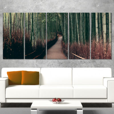 Designart Bamboo Grove in Arashiyama Panorama Oversized Forest Canvas Art - 4 Panels