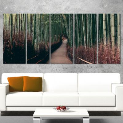 Designart Bamboo Grove in Arashiyama Panorama Oversized Forest Canvas Art - 5 Panels