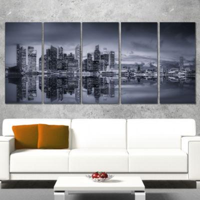 Designart Singapore Skyline and Marina Bay Cityscape CanvasPrint - 5 Panels