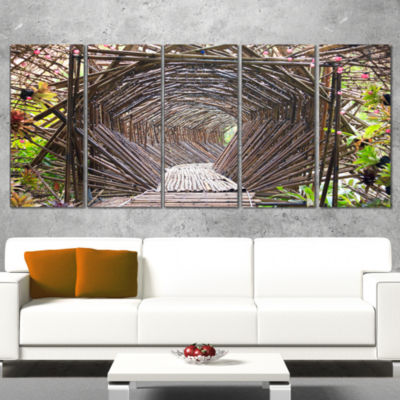 Designart Bamboo Tunnel in The Garden Landscape Wrapped Canvas Art Print - 5 Panels