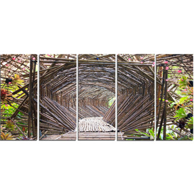 Designart Bamboo Tunnel in The Garden Landscape Canvas Art Print - 5 Panels