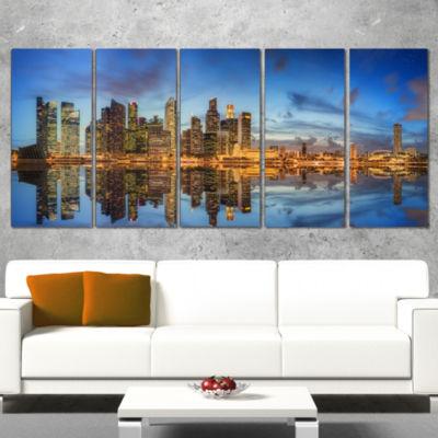Designart Singapore Skyline and View of Marina BayCityscapeWrapped Print - 5 Panels