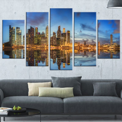 Singapore Skyline and View of Marina Bay CityscapeWrapped Print - 5 Panels
