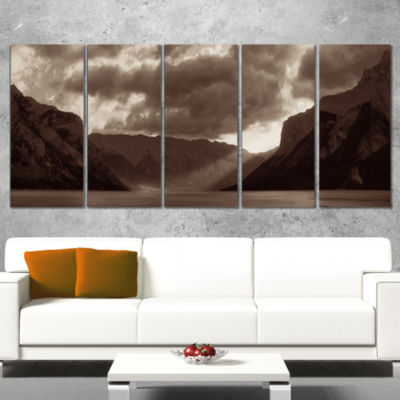 Designart Banff National Park Panoramic View Landscape Wrapped Canvas Art Print - 5 Panels