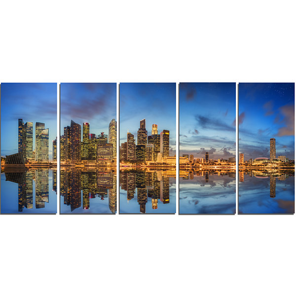 Singapore Skyline and View of Marina Bay CityscapeCanvas Print - 5 Panels
