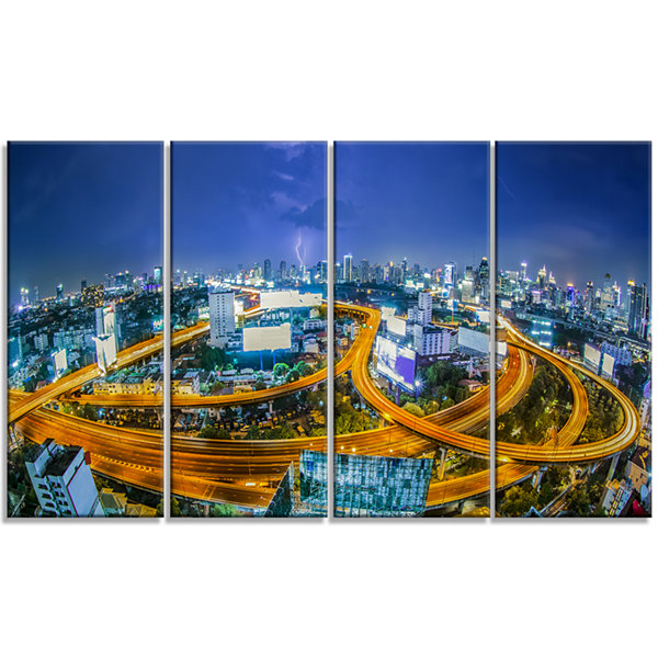 Designart Bangkok City Cityscape Photography Canvas Art Print - 4 Panels