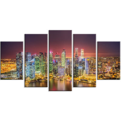 Singapore Skyline View of Marina Bay Cityscape Wrapped Print - 5 Panels