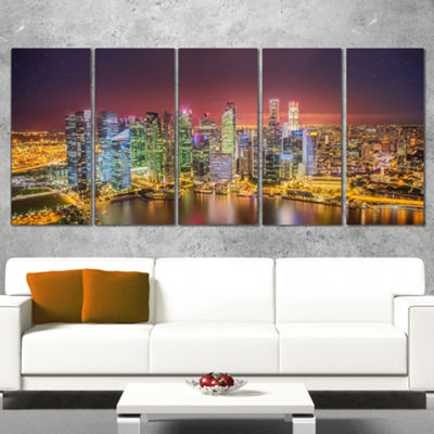 Designart Singapore Skyline View of Marina Bay Cityscape Wrapped Print - 5 Panels