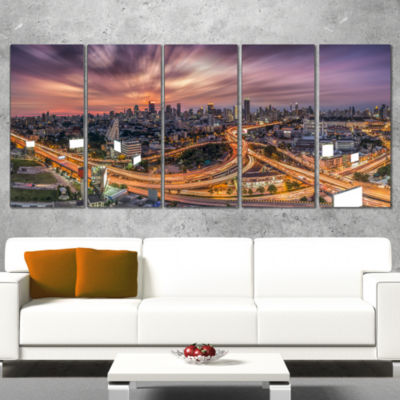 Designart Bangkok S Shaped Express Way CityscapeCanvas Art Print - 4 Panels