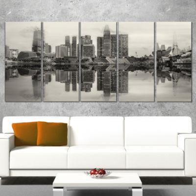 Designart Singapore Skyline View Panorama Cityscape WrappedArt Print - 5 Panels