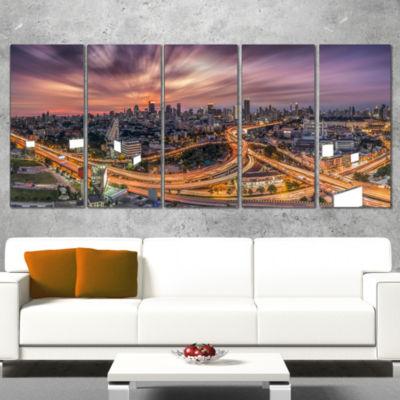 Designart Bangkok S Shaped Express Way CityscapeWrapped Canvas Art Print - 5 Panels