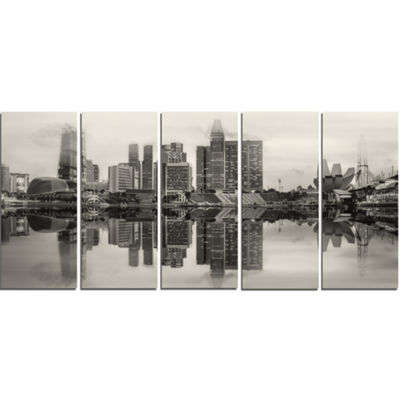 Designart Singapore Skyline View Panorama Cityscape Canvas Art Print - 5 Panels